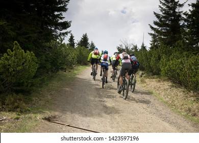 Modre Sedlo, Giant Mountains/ krkonose, Czech Republic, 8 June 2019, unidentifed people cycle in the Krkonose in Modre Sedlo in the Czech Republic