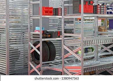Modular Metal Shelving System in Storage Room