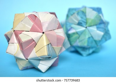 Modular Origami Sonobe Ball On Blue Background