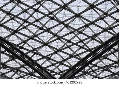 Modular supporting structure of ceiling / roof. Steel and glass contemporary architecture. Glazed aluminum structure.