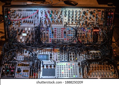 Modular synthesizer on stage ready for use for a performance in the old pop stage in Utrecht.