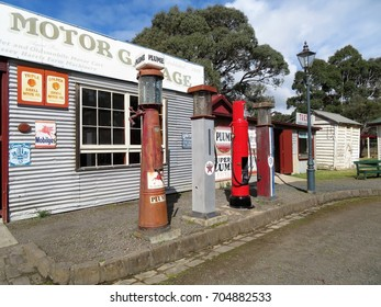 Moe, Victoria, Australia 08/29/2017.   Old Gippstown Gippsland Heritage Park Garage and Gas pumps built to resemble garage from Maffra built in 1929.