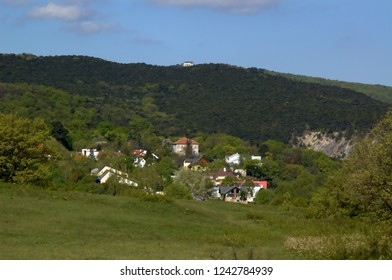 Moedling, Lower Austria / Austria - April 04 2008: View from Oakhill towards Priessnitztal and Husarentempel
