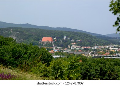 Moedling, Lower-Austria / Austria - June 17 2006: View from Oakhill towards Church of St. Othmar and Black Tower