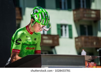 Moena, Italy May 25, 2017: Professional Cyclist Davide Formolo, Cannondale Team, on the Podium signatures before departure of hard mountain stage on the Dolomites of Tour of Italy 2017