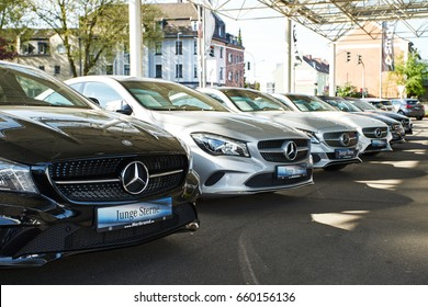MOENCHENGLADBACH, GERMANY - APRIL 30, 2017: Mercedes Benz showroom. Mercedes-Benz is a German automobile manufacturer