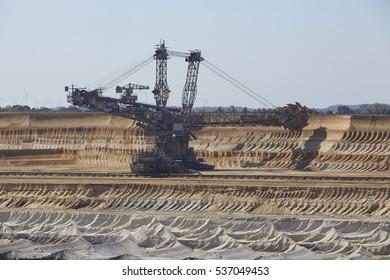 MOENCHENGLADBACH, GERMANY - SEPTEMBER, 10. A bucket excavator at opencast mining Garzweiler near Moenchengladbach (Germany, Northrhine-Westphalia) at Rhenanian brown coal area on September 10, 2016.