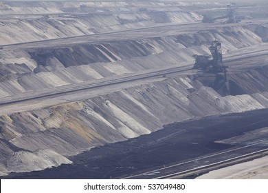 MOENCHENGLADBACH, GERMANY - SEPTEMBER, 10. Layers of earth at opencast mining Garzweiler near Moenchengladbach (Germany, Northrhine-Westphalia) at the Rhenanian brown coal area on September 10, 2016.