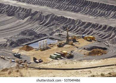 MOENCHENGLADBACH, GERMANY - SEPTEMBER, 10. The opencast mining Garzweiler near Moenchengladbach (Germany, Northrhine-Westphalia) at the Rhenanian brown coal area on September 10, 2016.