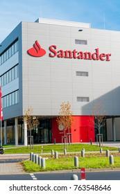 Moenchengladbach,Germany, Oktober 19, 2017: Exterior view of Santander Bank building in Germany, Moenchenglabdach