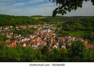 MOENSHEIM, PFORZHEIM, GERMANY - April 29. 2015: Monsheim is a town in the district of Enz in Baden-Wuerttemberg in southern BRD.