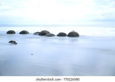 Moeraki Boulders Koekohe Beach on the coast of Otago on the South Island of New Zealand