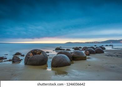 Moeraki Boulders. Near Oamaru. Otago coast, New Zealand