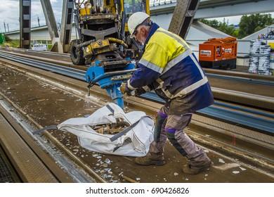 MOERDIJK - THE NETHERLANDS  - AUGUST 4  - Moerdijk Bridge Gets new rails on August 4, 2017