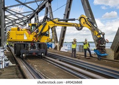 MOERDIJK - THE NETHERLANDS  - AUGUST 4  - Moerdijk Bridge Gets new rails on August 4, 2017