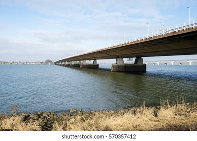 MOERDIJK, THE NETHERLANDS – JANUARY 29: Moerdijkbrug over Hollands Diep on January 29, 2017