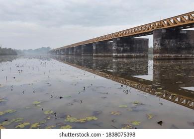 The Moerputten railway bridge, crossing a bog in a nature reserve at 's-Hertogenbosch, Netherlands