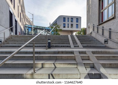 Moers -Close-up from Stairs to the modern architecture of Townhall, North Rhine Westphalia, Germany, Moers, 26.08.2018