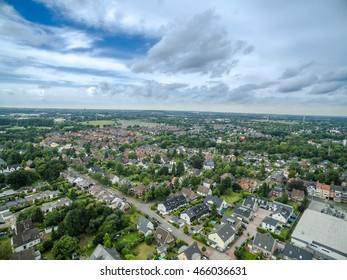 MOERS / GERMANY - AUGUST 05 2016 : Moers Utfort under the clouds, aerial