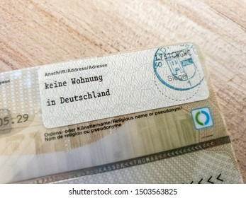 MOERS / GERMANY - AUGUST 29 2019 : New german electronic passport explaining that the owner has no residence in Germany
