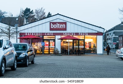 MOERS / GERMANY - DECEMBER 31 2016 : Bakery opens in the evening