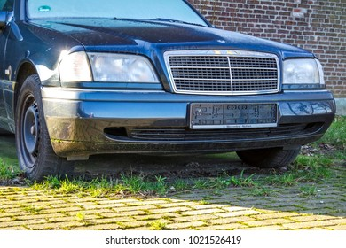 MOERS / GERMANY - FEBRUARY 09 2018 : Signed out car standing in the street without numberplate