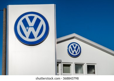 MOERS / GERMANY - JANUARY 28 2016 : Volkswagen building in the sun waiting for the  callback campaign