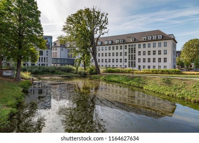Moers - View to the new and old part of the Townhall, where the new part has been built in 2012, North Rhine Westphalia, Germany, Moers, 26.08.2018