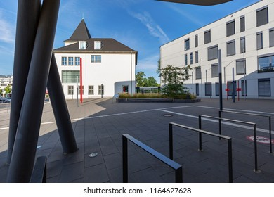 Moers - View from new part of the Townhall towards old Townhall, which was completely renovated in 2009,  North Rhine Westphalia, Germany, Moers, 26.08.2018