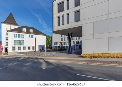 Moers - View to the old and new part of the Townhall, where the new part has been built in 2012, North Rhine Westphalia, Germany, Moers, 26.08.2018