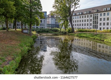 Moers - View to Rearside of Moers Townhall with beautiful water reflections, North Rhine Westphalia, Germany, Moers, 26.08.2018