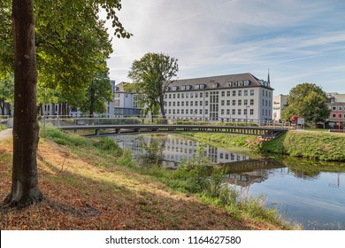 Moers - View to Rearside of Townhall with iron pedestrian bridge, North Rhine Westphalia, Germany, Moers, 26.08.2018