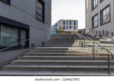 Moers - View from Stairs to the modern architecture of Townhall, North Rhine Westphalia, Germany, Moers, 26.08.2018