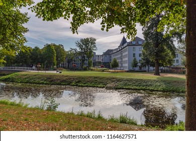 Moers - View from Moers Townhall, the first known Townhall had been bought by the City in the Year 1610,  North Rhine Westphalia, Germany, Moers, 26.08.2018