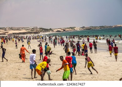 MOGADISHU, SOMALIA-Oct, 2014 :View of Mogadishu, people at the Mogadishu beach, Mogadishu is the Capital city of Somalia