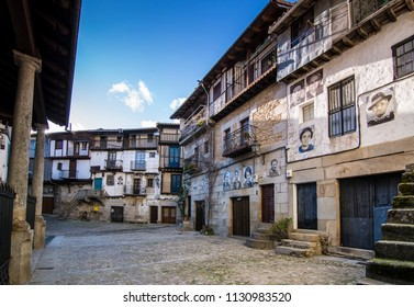 Mogarraz, Salamanca, Spain, February 2016:  Mogarraz, a charming town of Salamanca with the special feature that houses have on their forehead the portrait of their inhabitants
