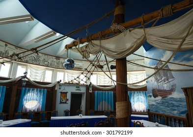 """MOGILEV, BELARUS - APRIL 24, 2015: The interior of the banquet hall of the restaurant """"Santa Maria"""" on the shore of Holy Lake in Mogilev, Belarus"""