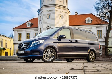 MOGILEV, BELARUS - December 12, 2014: The new Mercedes-Benz V-Class at the test-drive event. V-class combines the spaciousness of its interior with unique agility on the road.