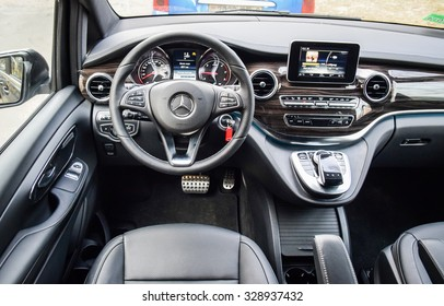 MOGILEV, BELARUS - December 12, 2014: The new Mercedes-Benz V-Class at the test-drive event. V-class combines the spaciousness of its interior with unique agility on the road. Interior is on display.