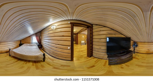MOGILEV, BELARUS - DECEMBER, 2017: panorama 360 degrees angle view in wooden bedroom with tv in vacation house in equirectangular projection, skybox VR AR content