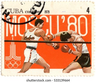 Mogilev,Belarus - CIRCA December, 2016 : a stamp printed in CUBA shows boxing, series Olympic Games in Moscow 1980, circa 1979
