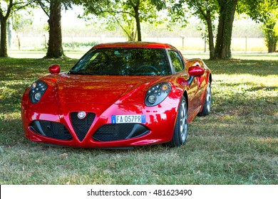 Mogliano Veneto,Italy Sept 11,2016:Alfa Romeo 4C is a two-seater, rear-wheel coupe with technology and materials derived from the Alfa 8C Competizione, with 1750 turbo petrol engine .