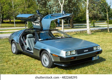 Mogliano Veneto,Italy Sept 11,2016:Photo of a DeLorean DMC-12 at meeting Top Selection 2016.The DMC12 is a sports car manufactured by John DeLorean Motor Company for American market from 1981-1983.