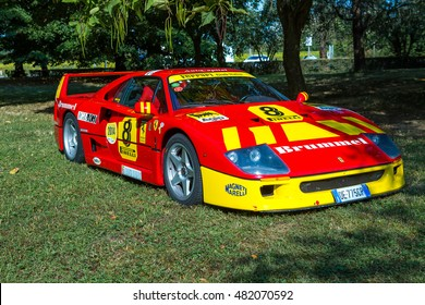 Mogliano Veneto,Italy Sept 11,2016:Photo of a Ferrari F40 racecar at meeting Top Selection 2016. The Ferrari F40 is a mid-engine, rear-wheel drive, two-door coupe sports car built from 1987 to 1992.