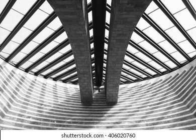 MOGNO, SWITZERLAND - CIRCA AUGUST 2011: Glass ceiling of the church of San Giovanni Battista, designed by Swiss architect Mario Botta.