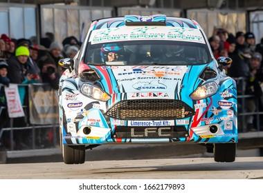 Mogyorod, Hungaroring, Hungary,  December 27. 2019 - Ford Fiesta  R5 (SP 08-89) Lencse Zoltán ‐ Dr. Kovács Annamária (Speed Technika Kft.) big jump in Szilveszter Rally 2019 (European Championship)