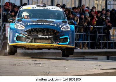 Mogyorod, Hungaroring, Hungary,  December 27. 2019 - Ford Fiesta (SP 08-30) László Zoltán ‐ Balázs Zsolt Zsolt (M‐Sport Racing) big jump in Szilveszter Rally 2019 (European Championship)