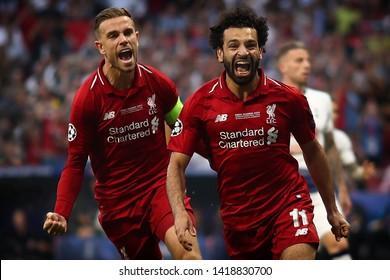 Mohamed Salah of Liverpool celebrates with Jordan Henderson after scoring the 1st goal - Tottenham Hotspur v Liverpool, UEFA Champions League Final, Wanda Metropolitano Stadium, Madrid - 1st June 2019