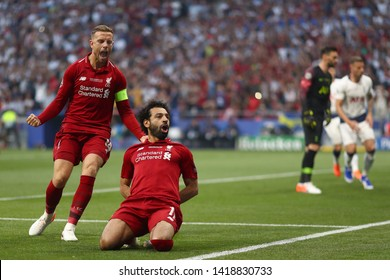 Mohamed Salah of Liverpool celebrates with Jordan Henderson after scoring the 1st goal - Tottenham Hotspur v Liverpool, UEFA Champions League Final, Wanda Metropolitano Stadium, Madrid - 1st June 2019
