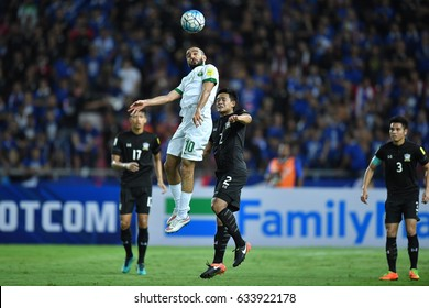Mohammad Al-Sahlawi no.10 (white) of Saudi Arabia in action during 2018 FIFA World Cup Qualifier between Thailand and Saudi Arabia at the Rajamangala Stadium on March 23, 2017 in Bangkok,Thailand,
